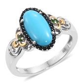 Arizona Sleeping Beauty Turquoise, Russian Diopside, Thai Black Spinel 14K YG and Platinum Over Sterling Silver Ring (Size 7.0) TGW 3.46 cts.
