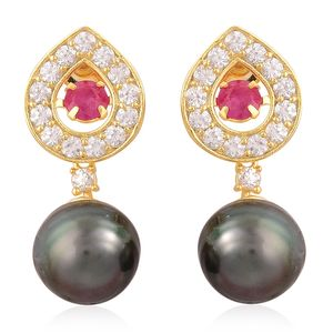 Tahitian Pearl, Burmese Ruby, Natural White Zircon 14K YG Over Sterling Silver Earrings TGW 2.13 cts.