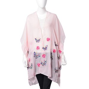 Pink 100% Polyester Butterfly & Flower Embroidered Kimono (One Size)