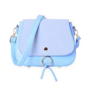 Pastel Blue Faux Leather Foldover Crossbody Saddle Bag with Standing Stud and Removable Shoulder Strap (9x3x7.5 in)
