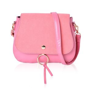 Strawberry Ice Faux Leather Foldover Crossbody Saddle Bag with Standing Stud and Removable Shoulder Strap (9x3x7.5 in)