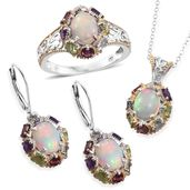 Doorbuster Ethiopian Welo Opal, Multi Gemstone 14K YG and Platinum Over Sterling Silver Earrings, Ring (Size 5) and Pendant With Chain (20 in) TGW 10.72 cts.