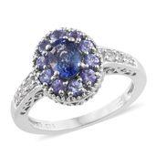 Ceylon Blue Sapphire, Tanzanite, Cambodian Zircon Platinum Over Sterling Silver Ring (Size 7.0) TGW 2.04 cts.