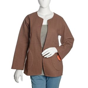 Brown and Burnt Orange 100% Cotton Reversible Quilted Jacket (M/L)