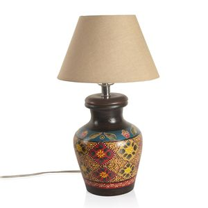 MEGA CLEARANCE Hand Painted Electrical Golden Floral Quatrefoil Terracotta Clay Flower Pot Table Lamp (Require G16.5 Bulb, E26 Base)
