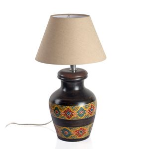 Hand Painted Electrical Golden Floral Stripe Terracotta Clay Flower Pot Table Lamp (Require G16.5 Bulb, E26 Base)