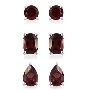 Mozambique Garnet Platinum Over Sterling Silver Set of 3 Stud Earrings TGW 5.28 cts.