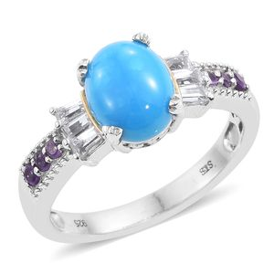 Arizona Sleeping Beauty Turquoise, White Topaz, Amethyst Platinum Over Sterling Silver Ring (Size 5.0) TGW 2.31 cts.