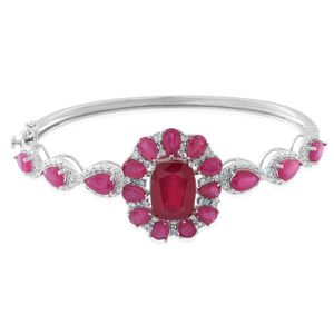 Web Exclusive Doorbuster Niassa Ruby (FF), White Zircon Sterling Silver Bangle (7.50 in) TGW 21.84 cts.