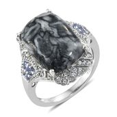 Austrian Pinolith, Tanzanite, Cambodian Zircon Platinum Over Sterling Silver Ring (Size 7.0) TGW 16.47 cts.