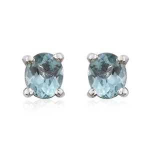 Madagascar Paraiba Apatite Platinum Over Sterling Silver Stud Earrings TGW 0.76 cts.