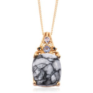 Austrian Pinolith, Tanzanite, Thai Black Spinel 14K YG Over Sterling Silver Pendant With Chain (20 in) TGW 5.95 cts.