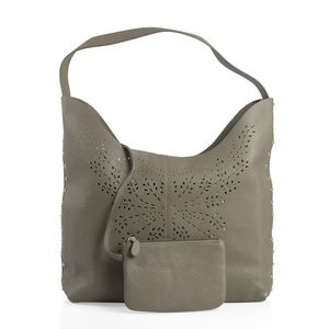 Sand Genuine Leather RFID Laser Cut Studded Tote (13.1x5.9x10.6 in) with Matching Clutch (6.5x4.5 in)