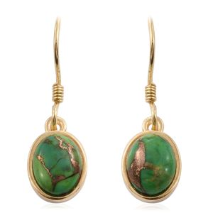 Mojave Green Turquoise 14K YG Over Sterling Silver Dangle Earrings TGW 3.66 cts.