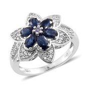 Ceylon Blue Sapphire, Tanzanite, Cambodian Zircon Platinum Over Sterling Silver Star Ring (Size 6.0) TGW 2.33 cts.