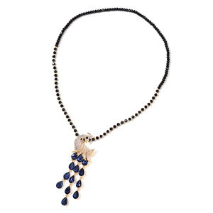Black and Blue Glass Beads, White Austrian Crystal, Resin Goldtone Necklace (28 in) TGW 205.10 cts.