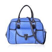 Blue Ostrich Skin Embossed Faux Leather Duffle Bag Style Fashion Tote with Standing Stud and Removable Shoulder Bag (17x7x10 in)