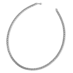 Stainless Steel Double Link Curb Necklace (24 in)