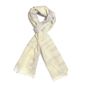 Lilac 100% Cotton Jacquard Floral Scroll Pattern Scarf (76x30 in)