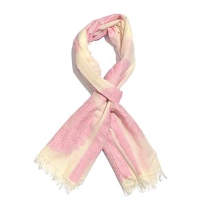 Pastel Pink 100% Cotton Jacquard Floral Pattern Scarf (76x30 in)
