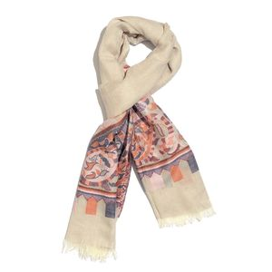 Beige with Multi Color 100% Cotton Paisley Jacquard Scarf (74x30 in)