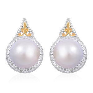 White South Sea Pearl (12-13 mm), White Zircon 14K YG Over and Sterling Silver Earrings TGW 1.00 cts.
