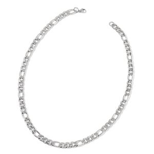 Stainless Steel Curbed Figaro Necklace (24 in)
