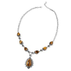 South African Tigers Eye Silvertone Floral Necklace (22-24 in) TGW 50.00 cts.
