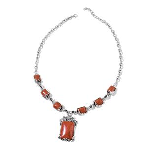 Goldstone Silvertone Floral Necklace (22-24 in) TGW 60.00 cts.