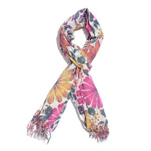 Magenta and Mustard 100% Cotton Floral Printed Scarf (72x40 in)