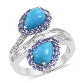Arizona Sleeping Beauty Turquoise, Tanzanite, White Topaz Platinum Over Sterling Silver Ring (Size 7.0) TGW 6.00 cts.