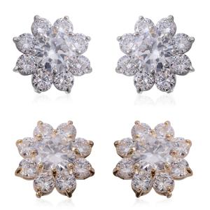 Simulated Diamond Doultone Set of 2 Floral Stud Earrings TGW 19.24 cts.