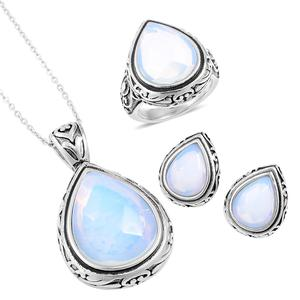 Opalite Black Oxidized Stainless Steel Earrings, Ring (Size 9) and Pendant With Chain (20 in) TGW 34.65 cts.