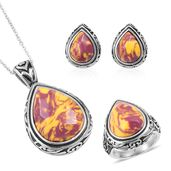 Kennedy Range Mookaite Black Oxidized Stainless Steel Earrings, Ring (Size 11) and Pendant With Chain (20 in) TGW 36.30 cts.