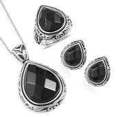 Enhanced Black Agate Black Oxidized Stainless Steel Earrings, Ring (Size 8) and Pendant With Chain (20 in) TGW 36.70 cts.