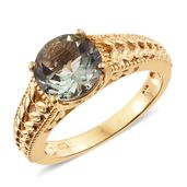 Montezuma Prasiolite 14K YG Over Sterling Silver Ring (Size 8.0) TGW 3.55 cts.