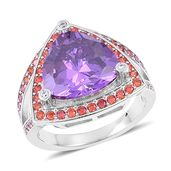 Simulated Purple, Red and White Diamond Silvertone Ring (Size 7.0) TGW 11.81 cts.