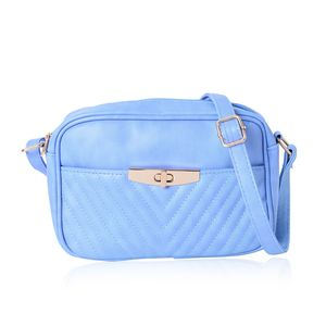 Blue Faux Leather Chevron Quilted Pattern Sling Bag (9.4x3x6.2 in)