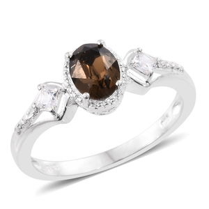 Simulated Diamond Sterling Silver Ring (Size 7.0) Made with SWAROVSKI Smoked Topaz Crystal TGW 0.34 cts.