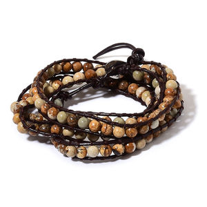 Picture Jasper Necklace or Wrap Bracelet on Genuine Leather Cord (34.00 In) TGW 243.00 cts.
