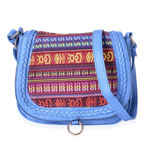 Blue Faux Leather Santa Fe Embroidered Saddle Crossbody Bag (10x3x8.5 in)