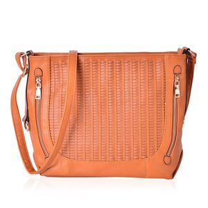 Ginger Faux Leather Weave Crossbody Bag (14x5x10.5 in)