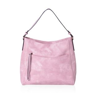 Dusty Pink Faux Leather Hobo Bag with Standing Studs (15x5x13 in)