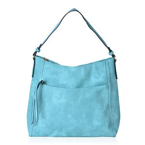 Seafoam Faux Leather Hobo Bag with Standing Studs (15x5x13 in)
