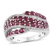 Dan's Collector Deal Niassa Ruby, Ruby, Cambodian Zircon Platinum Over Sterling Silver Ring (Size 8.0) TGW 2.76 cts.