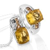 Canary Fluorite, Brazilian Citrine Platinum Over Sterling Silver Ring (Size 8) and Pendant With Chain (20 in) TGW 14.30 cts.