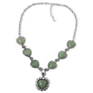 Green Aventurine Silvertone Floral Heart Necklace (22-24 in) TGW 200.00 cts.
