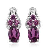 Purple Garnet, Cambodian Zircon Platinum Over Sterling Silver Earrings TGW 1.34 cts.