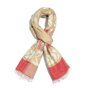 Beige and Red 50% Cotton & 50% Acrylic Heart Pattern Scarf (76x30 in)