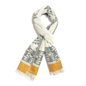 White, Mustard and Graphite 50% Cotton & 50% Acrylic Aztec Pattern Scarf (76x30 in)